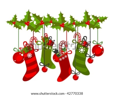 illustration of christmas socks on a white background - stock vector