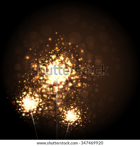 Illustration of Christmas Sparkler Bright Background Copyspace
