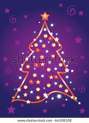 Illustration of Christmas tree - stock vector
