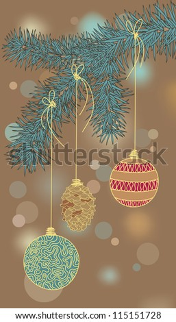 Illustration of Christmas-tree decorations - stock vector