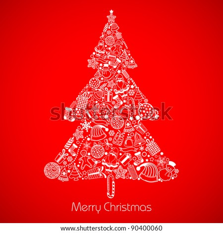 illustration of christmas tree made of different christmas element
