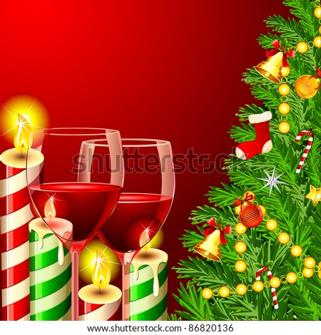 illustration of christmas tree with wine glass and candle - stock vector