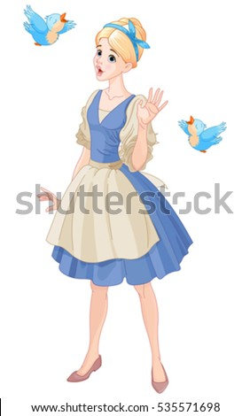 Illustration of Cinderella singing with birds