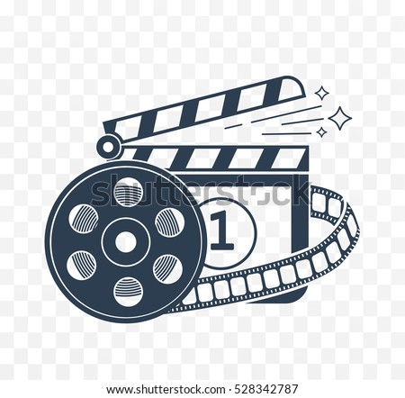 Illustration of  cinema clapper board icon and form of a film in a linear style. white in black icon.