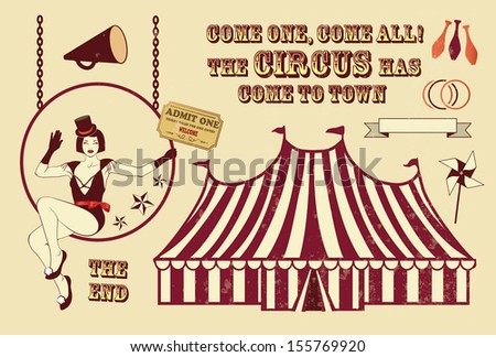 illustration of circus aerialist - stock vector