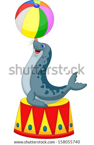 Illustration of Circus seal playing a ball - stock vector