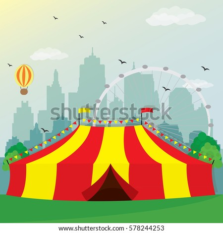 Illustration of circus tent design with city background. Colorful recreation area. Flat style vector & Illustration Circus Tent Design City Background Stock Vector ...