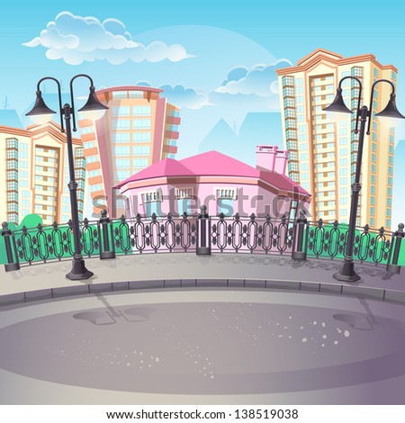 illustration of city and urban alleys with street lamps. - stock vector