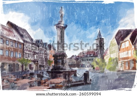Illustration of city Square. Watercolor style.  - stock vector