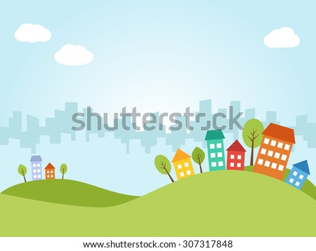 Illustration of city with colored houses on hills