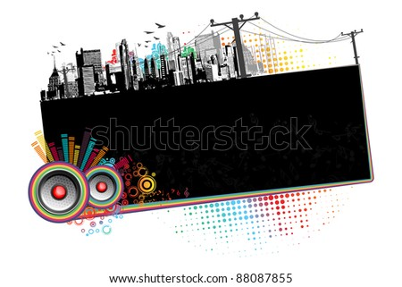 illustration of cityscape with sound speaker and musical notes - stock vector
