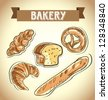 Illustration of classic bread, croissant, chopped bread, croissant, pretzel. bakery icon, vector illustration - stock