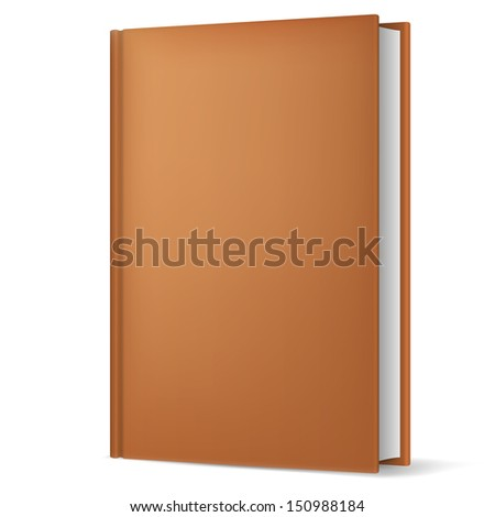 Illustration of classic brown book in front vertical view isolated on white background. - stock vector