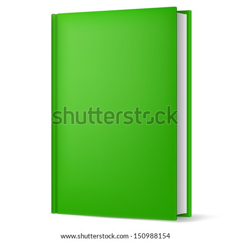 Illustration of classic green book in front vertical view isolated on white background. - stock vector