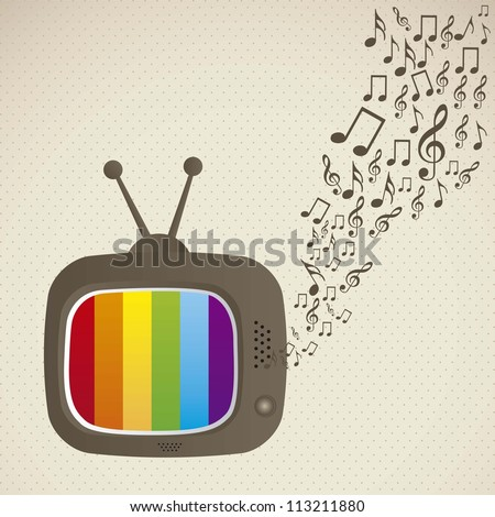 illustration of classic television, with musical notes coming out, vector illustration - stock vector