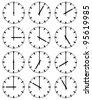 Illustration of clocks - stock vector
