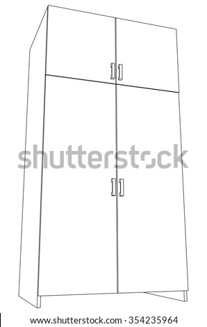 Illustration of closed cabinet on white, vector illustration - stock vector
