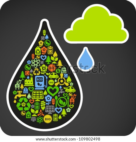 Illustration of cloud concept with water drop of small ecology icons - stock vector