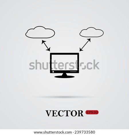 illustration of cloud storage   on a light background with shadow, vector, EPS 10