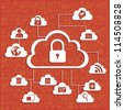 illustration of cloud technology locked, network security, vector illustration - stock photo