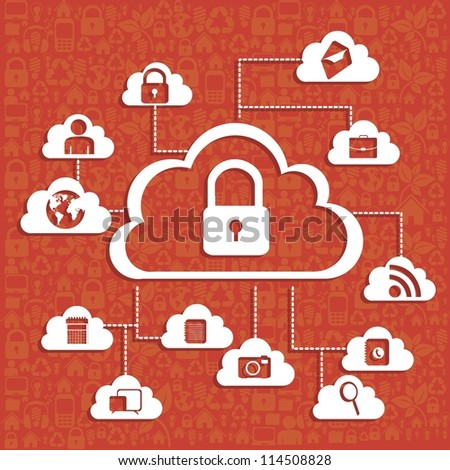 illustration of cloud technology locked, network security, vector illustration - stock vector