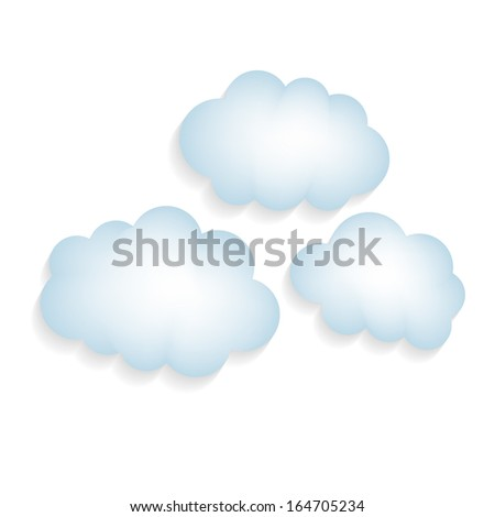 Illustration of clouds with a shadow isolated on white background - stock vector