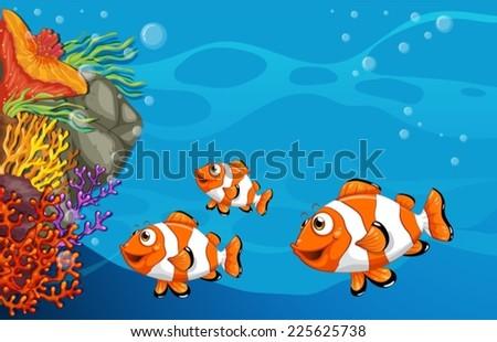 Illustration of clown fish swimming underwater - stock vector