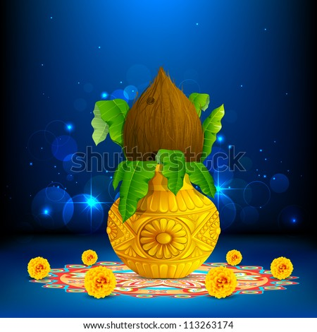 illustration of coconut in mangal kalash on colorful rangoli for hindu festival - stock vector
