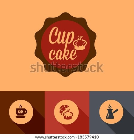 Illustration of Coffee Cup Cake in Flat Design Style. - stock vector