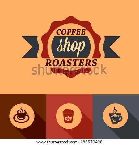 Illustration of Coffee in Flat Design Style. - stock vector