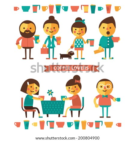 Illustration of coffee lovers. Characters with cups of coffee. Flat icons. - stock vector