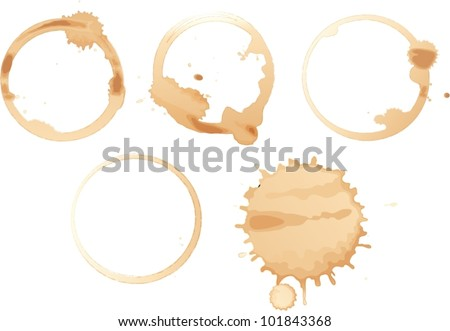 Illustration of coffee stains on white - stock vector