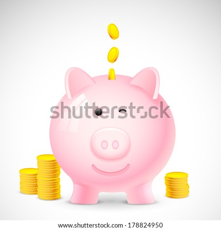 illustration of coin falling into piggy bank showing saving concept - stock vector