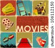 illustration of collage background of movie with different cinema object - stock photo