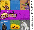 illustration of collage for different concept of Halloween - stock vector