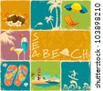 illustration of collage of different object of sea beach - stock vector