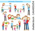 illustration of collection of 3d family people - stock vector