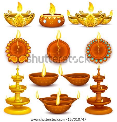Illustration Of Collection Diwali Decorated Diya