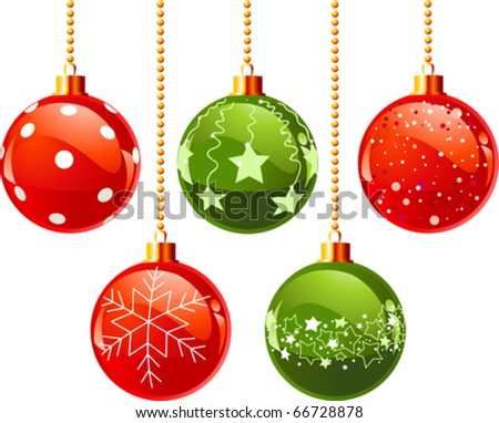 Illustration of color Christmas balls - stock vector