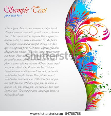illustration of colorful abstract floral grungy card - stock vector