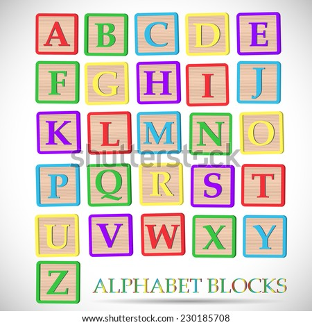 Illustration of colorful alphabet blocks isolated on a white background. - stock vector