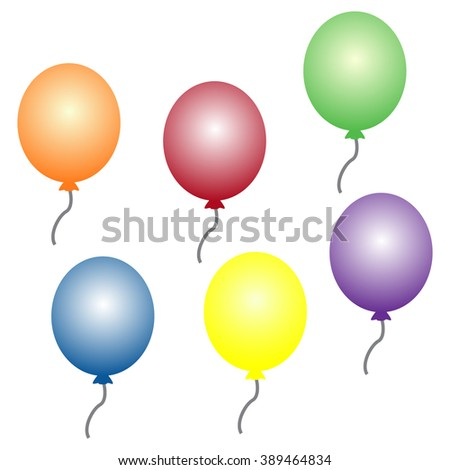illustration of colorful balloons, Isolated on White Background