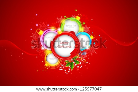 illustration of colorful bauble in Christmas background