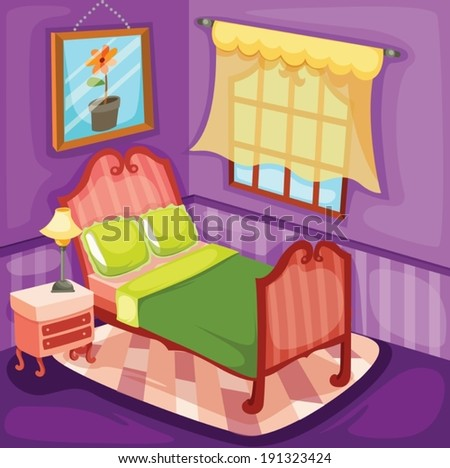 illustration of colorful bedroom  - stock vector