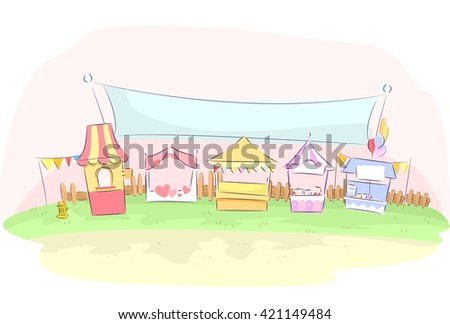 Illustration of Colorful Booths at a Festival