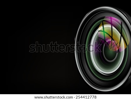 illustration of colorful camera lens on black background - stock vector