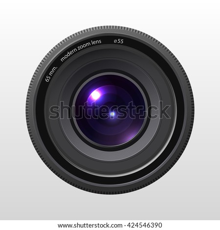 Illustration of colorful camera lens on white background. Vector illustration - stock vector