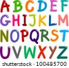 illustration of colorful Capital Letters Alphabet for education - stock vector