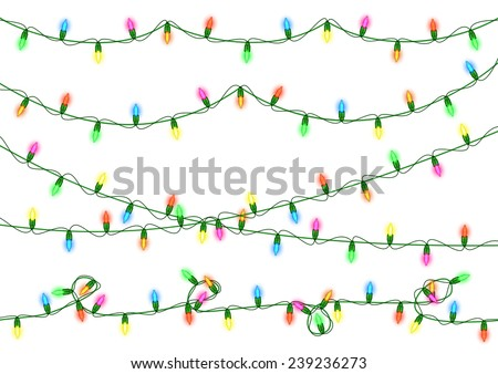 Illustration of colorful Christmas lights collection isolated