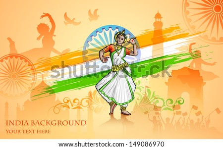illustration of colorful culture of India - stock vector